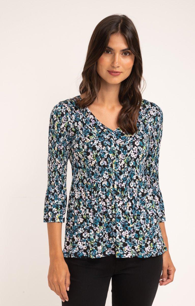 tee shirt manches 3/4 plissé