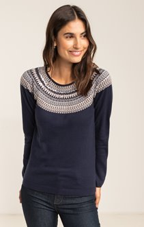 PULL MANCHES RAGLANS JACQUARD PLACE