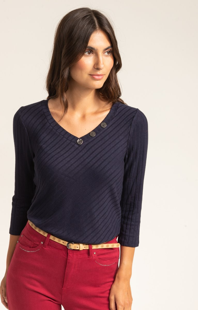 PULL COL V MAILLE FANTAISIE