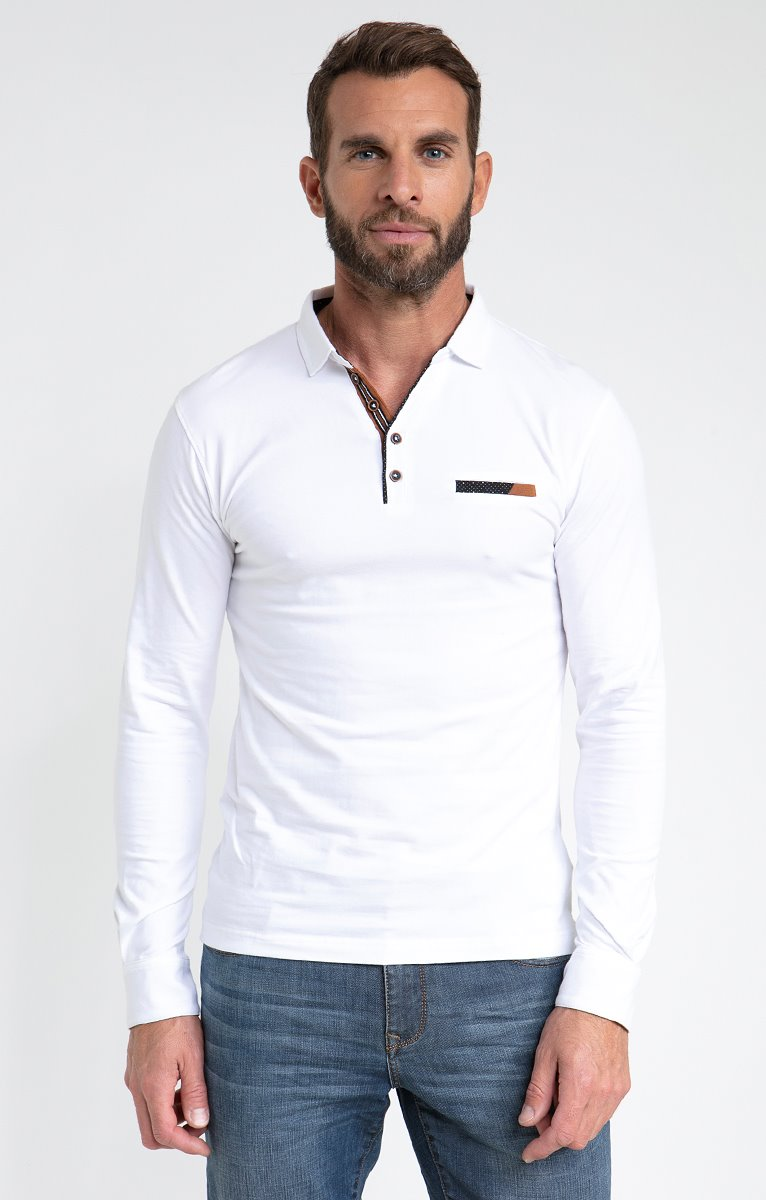 Polo manches longues contrast