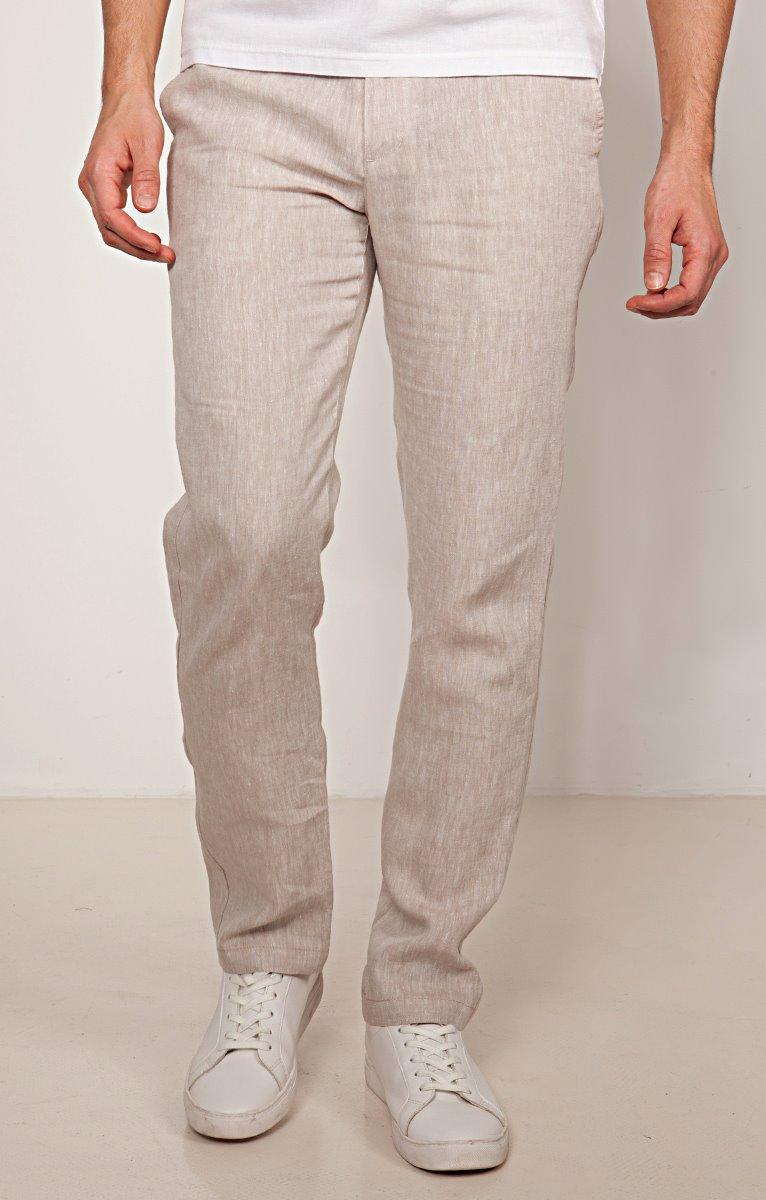 Pantalon chino coupe régular en lin