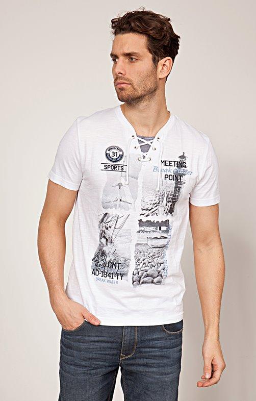 Tee shirt imprimé à lacets